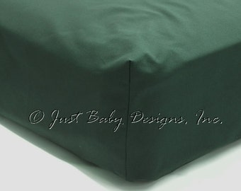 Fitted Crib Sheet - Hunter Green Solid Cotton