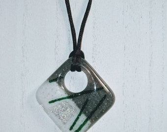 Fused Art Glass Pendant Necklace with White, Gray, Green and Silver Dichro