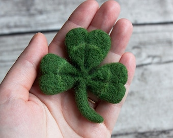 Shamrock brooch - Shamrock pin - Hand Felted Brooch - Clover brooch - Clover pin - St. Patrick's Day