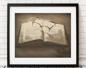 Book Art Print - English Teacher Gift, Book Lover Gift, Book Worm Gift, Book Wall Art, Book Poster, Library Decor, Literary Gifts, Drawing