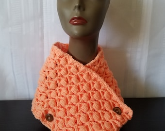 Malanda's Rosebuds Cowl | Crochet | Handmade | Cowl | Scarf | Winter Wear | Peach | Classy | Ribbed | Textured | Elegant