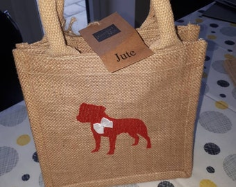 Jute hessian lunch bag with embroidered staffie / SBT / staffy bag Staffordshire bull terrier 20 x 20cm