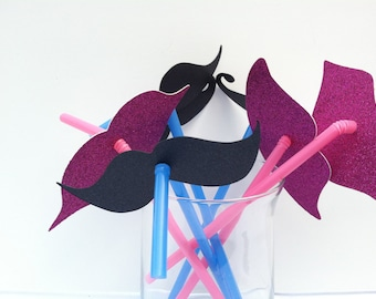 24 Lips and Mustaches on a Straw Party Favor Set Assorted Styles