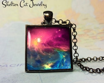 """Galaxy Nebula Necklace with Stars - 1"""" Square Pendant or Key Ring - Handmade Wearable Photo Art Jewelry - Outer Space Jewelry - Gift"""