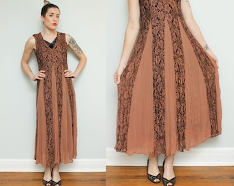 Brown Lace Boho Dress // 90s Flowy Gypsy Maxi Dress // Romantic Floral Sheer Sleeveless Tank Grunge Size Small Made in India