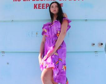 Hawaiian Rainbows/ 70s Purple Hawaiian Print Dress/ Hawaiian Print Ruffle Dress/ Flower Print Dress/ Floral Dress/ Off the Shoulder/ A Line