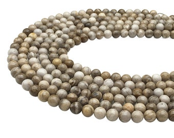 1 Full Strand Silver Leaf Jasper Beads , 6mm 8mm 10mm Jasper Round Beads , Gemstone Beads