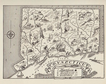50's Vintage CONNECTICUT Picture Map of Connecticut State Map Print Black and White Gallery Wall Art Library Office Decor  Birthday Gift
