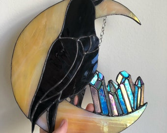 Stained Glass Moon Crow