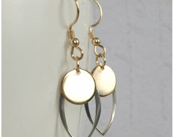 Mixed Metal Earrings - Gold and Silver Earrings - Simple Jewelry - Light Drop Earrings - Every Day Dangle Earrings - Marquis Earrings