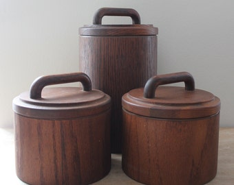 Cornwall 1970s mod wood canister set