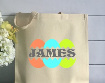 Personalized Easter Tote Bag with Bright Eggs (Item 1269J)