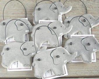 Elephant Party Baby Shower Favors Salt Dough Ornaments Set of 10