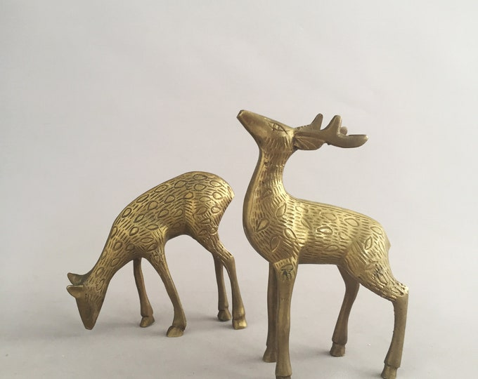 1940s brass stag and deer mantel set