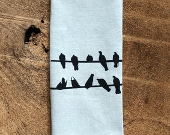 Birds on a Wire Screen  Printed  onto 100% Natural Linen ,Black Crows, Hostess Dift, Wedding Gift