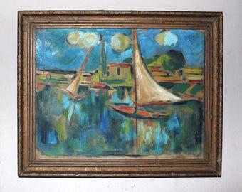 Maurice de Vlaminck Original Vintage Antique French Fauve European Post Impressionist Oil on Board Painting Sailboats