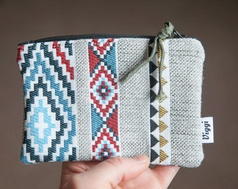 aztec coin purse / upholstery bag / small wallet / travel organizers / gray zipper pouch