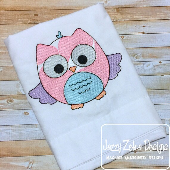 Avery Owl Sketch Embroidery Design - bird Sketch Embroidery Design - owl Sketch Embroidery Design