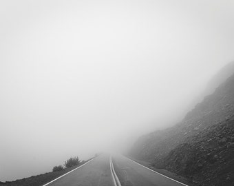 """Black and White Photography Print - Fine Art Photograph Fog Winding Road Mountain Misty Adventure """"Artist Point 2"""""""