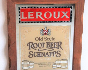 Root Beer Sign Leroux Old Style Root Beer Schnapps Sign Vintage Bar Mirror