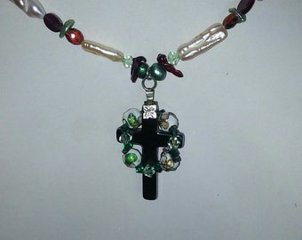 Handmade Celtic Cross with Garnets Freshwater Pearls and Cloissone Enamel Beads