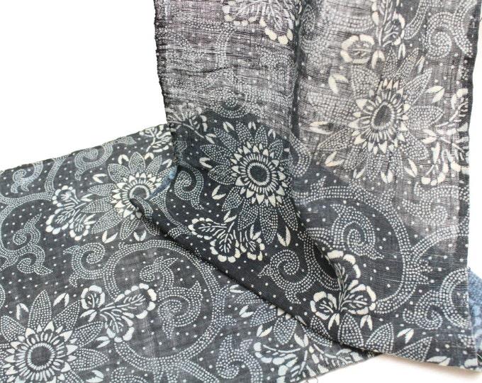 Hand Loomed Japanese Katazome Cotton. Aizome. Antique Indigo Floral Stencil Design (Ref: 139)