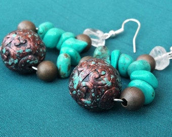 The connection - Magnesite turquoise and bronze earrings