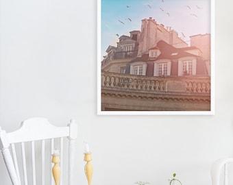 """Nostalgic Paris Wall Art // Paris Bedroom Decor // Paris Architecture Print // French Decor Print Modern home// Large Print """"Paris Rooftops"""""""