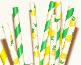 Bright Pineapple Party Straws, Tropical Bridal Shower Decorations, Paradise Wedding Decor, Pineapples, Luau, Lemon Lime, Fruit, Summer, 12CT