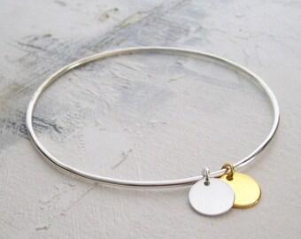 Bangle Bracelet fine 160gr/Silver 925/1000 and gold plated 24 k