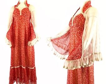 1970s Red White Cherry Print Floral Maxi Dress, Gunne Sax