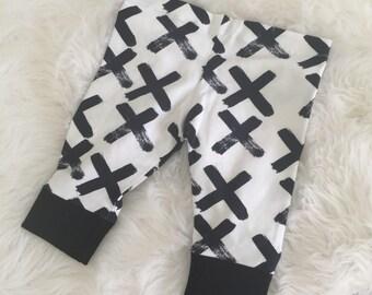 Leggins, Baby Leggings, Crosses, Monochrome, X's