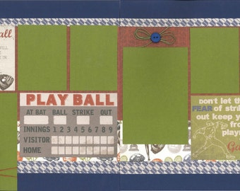 12x12 PLAY BALL scrapbook page kit, premade scrapbook, 12x12 premade scrapbook page, premade scrapbook pages, 12x12 scrapbook layout