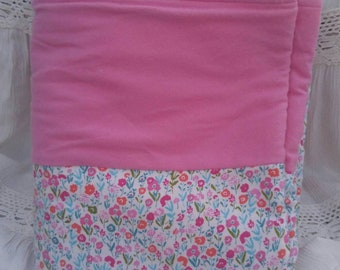 Flannel Baby Girl Blanket, Pink Flowers, Polka Dots