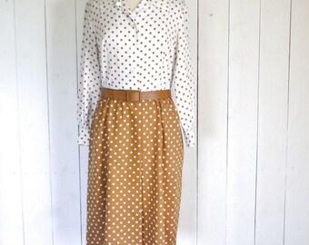 60s Polka Dot Dress Vintage I Magnin Mid Century Two Tone Brown Beige White Secretary Dress Large L