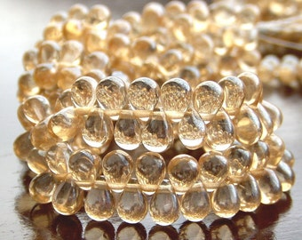 Champagne Luster Czech Glass Teardrop Bead 4x6mm :  50 pc Gold Teardrop