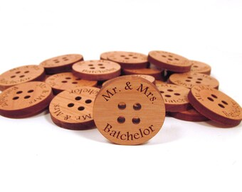 50 Wood Wedding Buttons - Personalized Wedding Buttons