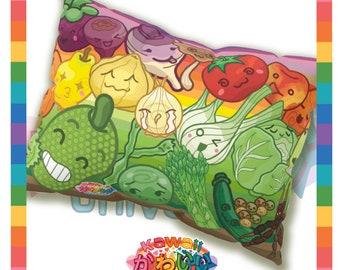 Kawaii Universe - Cute Fruits and Veggies Rainbow Designer Sleep Pillow