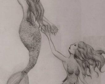 Hand-drawn Mermaid graphite art with frame