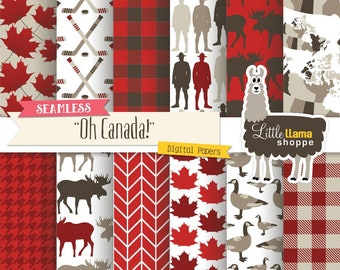 Canada Digital Paper, Seamless Canadian Scrapbook Paper Pack, Maple Leaf, Buffalo Plaid, Lumberjack, Canada Goose, Mountie, Commercial Use