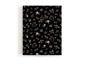 Black Note Notebook, Stationery Gift, Black Floral Journal, Notebook for School, Travelers Notebook, Flower Notebook, Light Journal