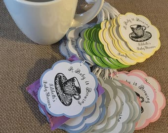 Party Favor Tags - Love is Brewing - Tea Party favor tags (Sets of 12)