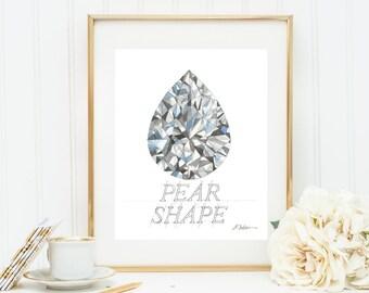 Pear Shape Diamond Watercolor Rendering printed on Paper