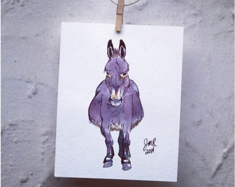"Horse art original watercolor & ink painting - ""Purple Donkey"""