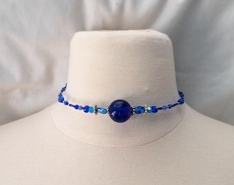 Choker Necklace, Necklace, Choker, Boho Necklace, Beaded Necklace, Beaded Choker, Dainty Choker (blue)
