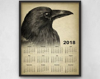Raven Calendar 2018 - Raven Decor - Raven Art Calendar 2018 - Raven Art - Raven Bird Picture - Raven Wall Art Print - Gothic Art