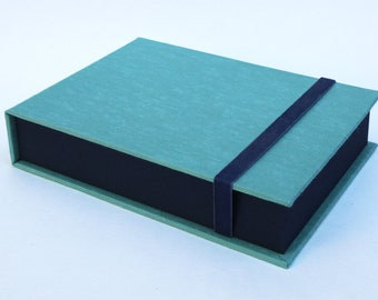 Box for Photos 4x6 in - Handmade with imported bookcloth | Photo Storage | Presentation Box | Keepsake | Photo Album| Blue