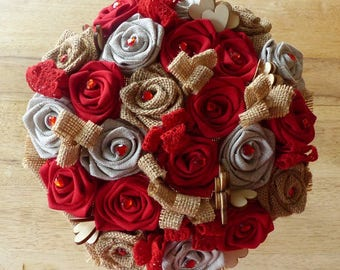 Bridal bouquet of Burlap, fabric and lace
