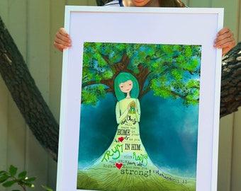 grow girl - scripture art print - Ephesians 3:17 illustrated faith