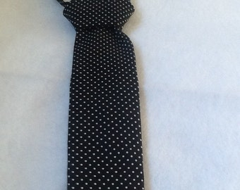 Toddler black with white polka dot tie, wedding/funeral, black and white events, kids clothes, kids accessories, dress up for toddler